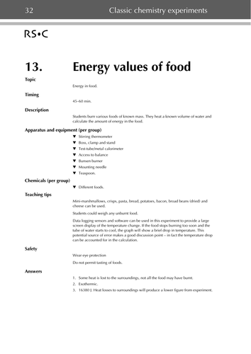 Chemistry Experiments: Energy values of food