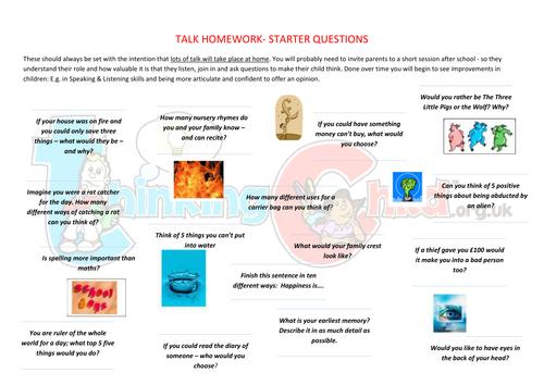 Talk Homework Ideas