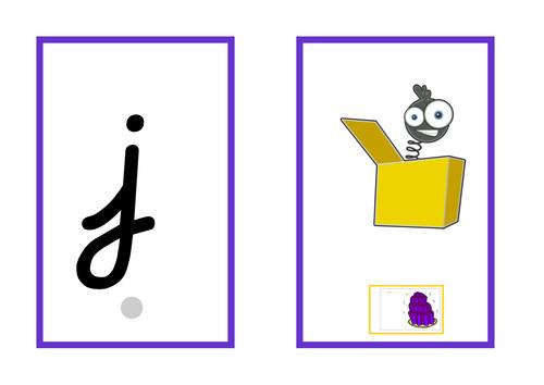 Cursive Phase 3 flashcards linked to Jolly Phonics