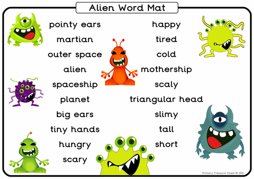 Character Design Ks2 : Alien themed a word mat by primarytreasurechest