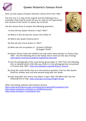 queen victoria 39 s census form by icse teaching resources. Black Bedroom Furniture Sets. Home Design Ideas