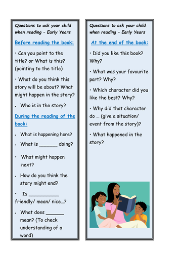 EYFS reading questions bookmark