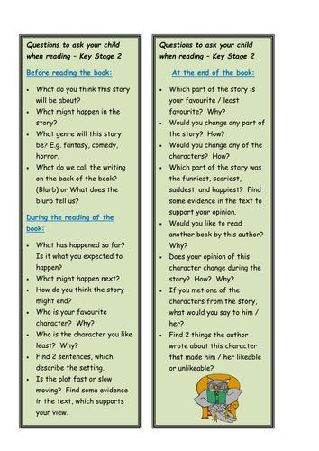 KS2 reading questions bookmark