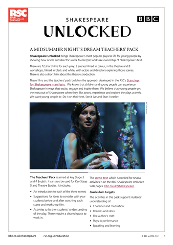 A Midsummer Night's Dream 2011 Teacher Pack (Shakespeare Unlocked)