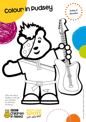 Colour In Pudsey By Bbcchildreninneed Teaching Resources