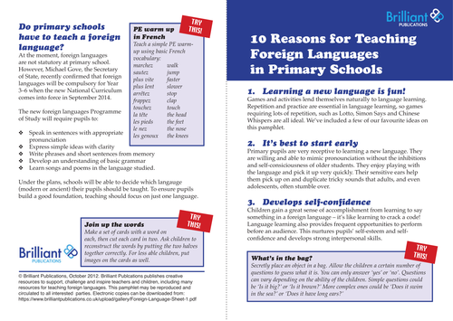10 Reasons to Teach MFL in Primary Schools
