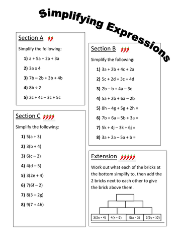 Printables Simplifying Algebraic Expressions Worksheets simplifying expressions differentiated worksheet by fionajones88 teaching resources tes