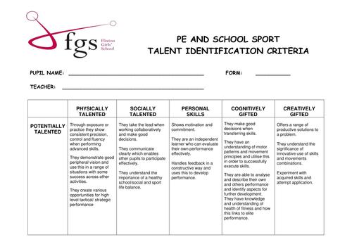 G&T Identification Criteria for PE