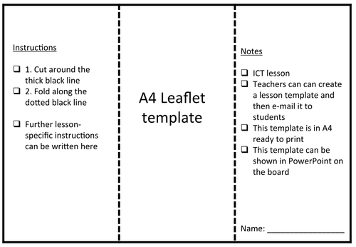 Leaflet template by rs007 teaching resources tes for Instruction leaflet template