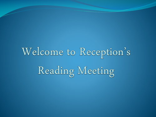 Reading Meeting for Parents