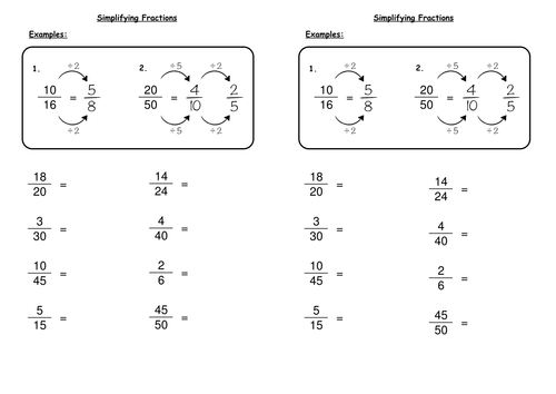 Simplifying Fractions by deechadwick Teaching Resources TES – Reduce Fractions Worksheets