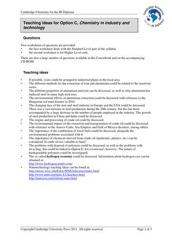Cambridge IB Chem C:Industry & technology-Planning by