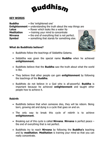 Buddhism Intro Worksheet 2011c By Stevemills Teaching Resources