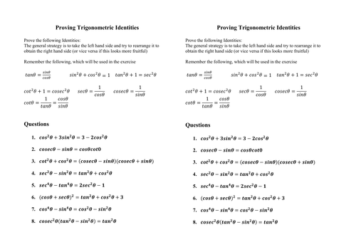 Prove Trig Identities not multiple angles by PaulDG Teaching – Proving Trigonometric Identities Worksheet