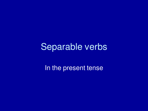 Separable verbs overview