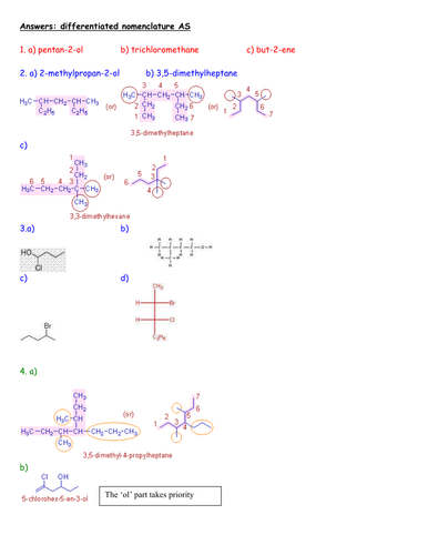 NAMING ORGANIC COMPOUNDS WORKSHEET WITH ANSWERS by kunletosin246 ...