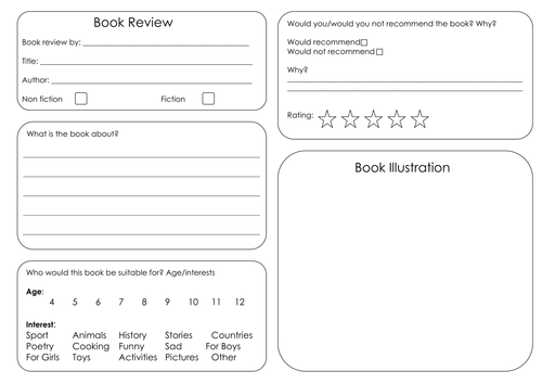Book review template by borabora Teaching Resources TES – Book Review Template