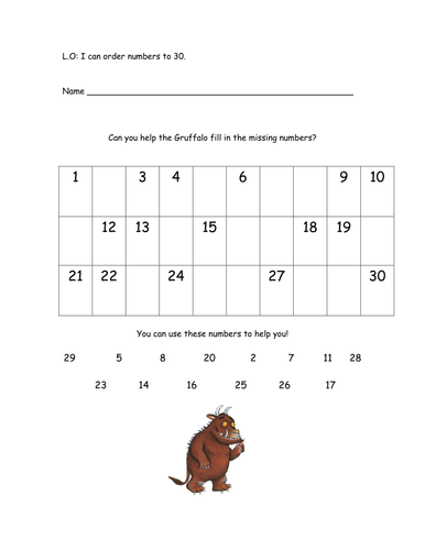 Gruffalo missing numbers worksheet to 30 by natbar | Teaching Resources
