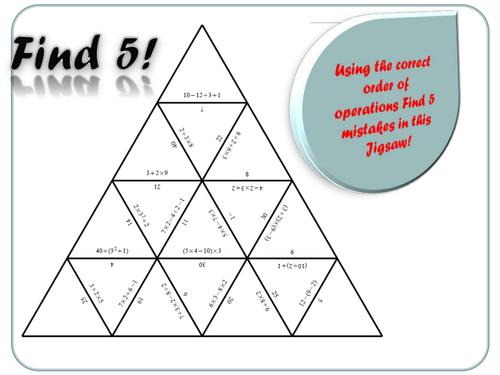 BIDMAS Order of Operations Find 5 by dwatson802 Teaching – Order of Operations Worksheets Pdf