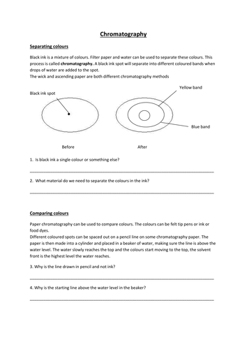 chromatography worksheet by somia1 - Teaching Resources - TES