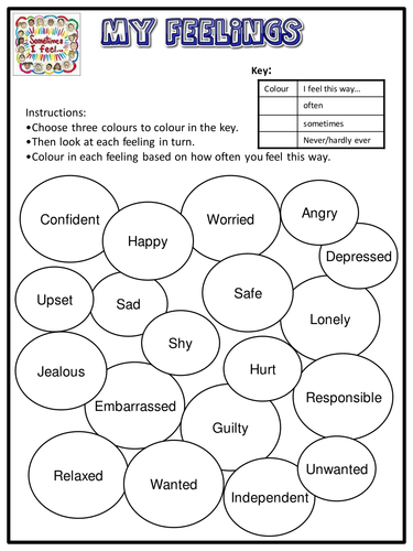 my feelings worksheet emotional literacy by lukeswillage teaching resources tes. Black Bedroom Furniture Sets. Home Design Ideas