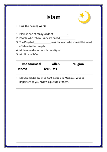 Islam Resources (quizes, worksheets, template)
