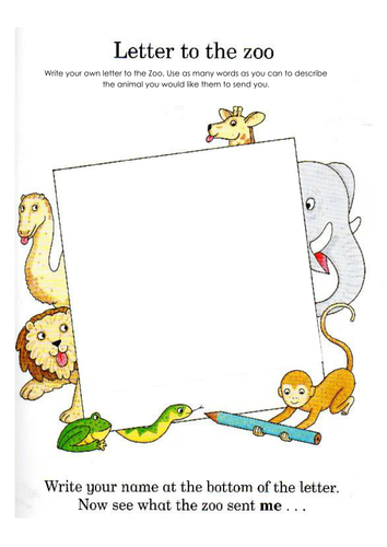 dear zoo letter writing template by tracie87 teaching resources tes