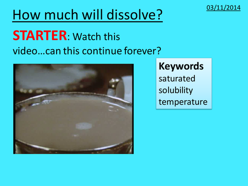 Particles Lesson 6 Ks3 Year 7 Solubility Temp By Dythamlinds