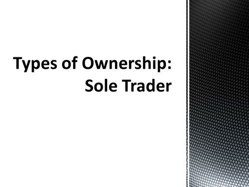 Types of Ownership - Sole Traders