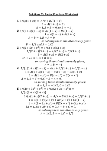 Partial Fractions Worksheet and Solutions by amwgauss - Teaching ...