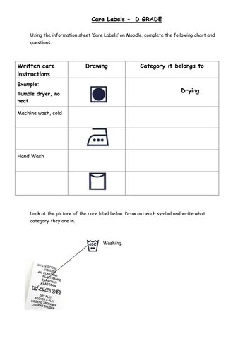 Care Labels Worksheet Differentiated By Jmcaulf Teaching
