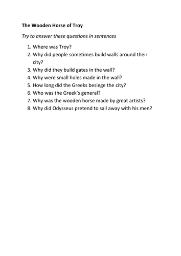Wooden Horse comprehension exercise