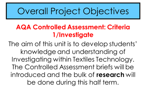 Controlled Assessment Target Consumer
