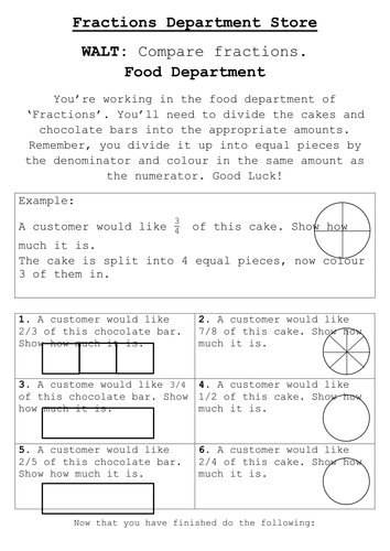 Comparing Fractions Worksheet By Ramey2 Teaching Resources Tes