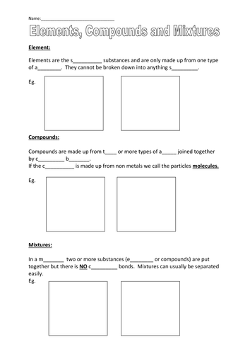 Elements, Compounds, & Mixtures Worksheet by CSnewin | Teaching ...