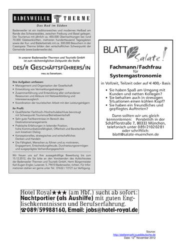 German: Hotel Job Adverts