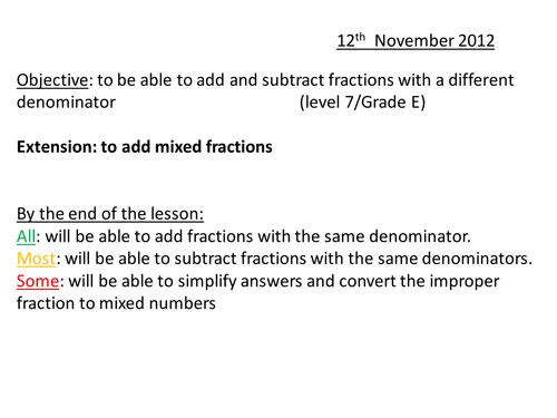 Add Subtract Fractions Different Denominator (7/C)