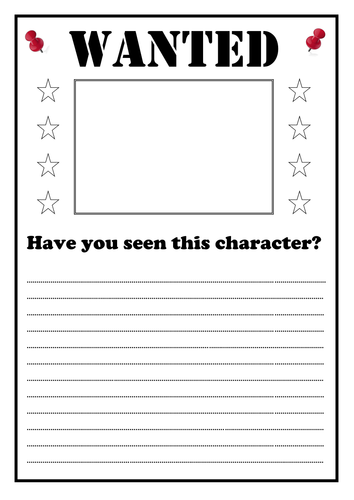 Wanted Poster Writing Frame by huttonnick1 - Teaching ...