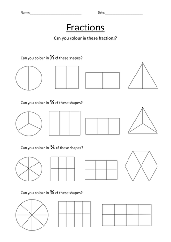 Colouring Fractions Worksheet by Kellya89 - Teaching Resources - Tes