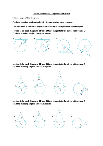 Circle Theorems 3 - Tangents and Chords by ceejaypee - Teaching ...