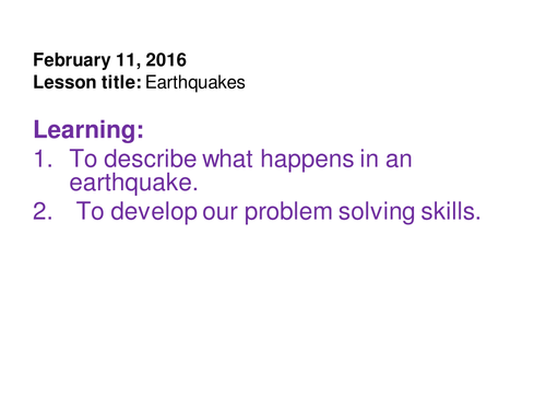 What happens in an earthquake?