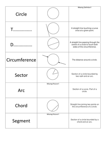 Circle Pieces: Definitions - Matching Triples Game