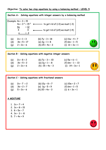 Solve two step equations by balancing