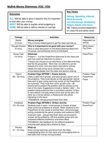 Money Dilemmas - Teacher/Trainer Guide