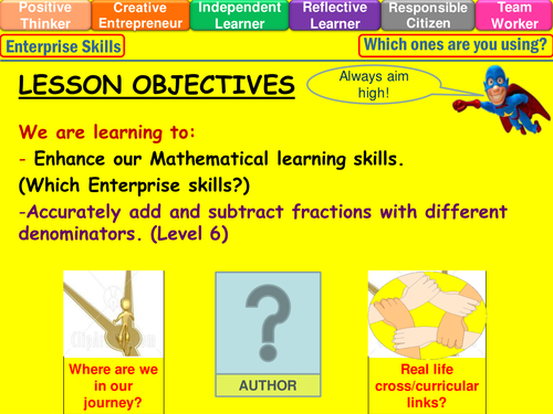Fractions adding and subtracting level 6 lesson