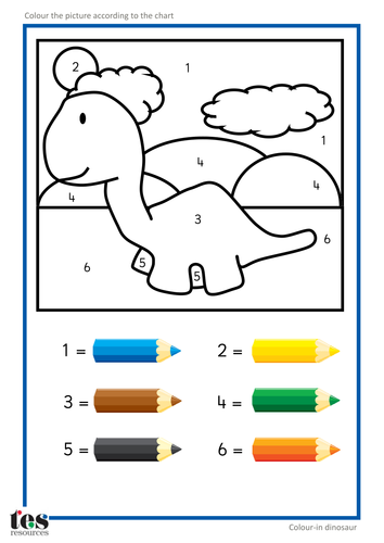 Colour By Number Dinosaur : Colour by numbers teacch activities dinosaurs tesautism
