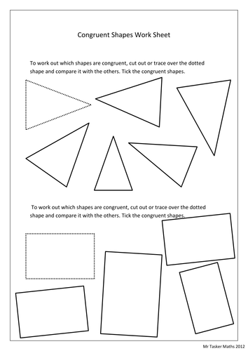 Congruent Shape worksheet by christasker - Teaching Resources - Tes