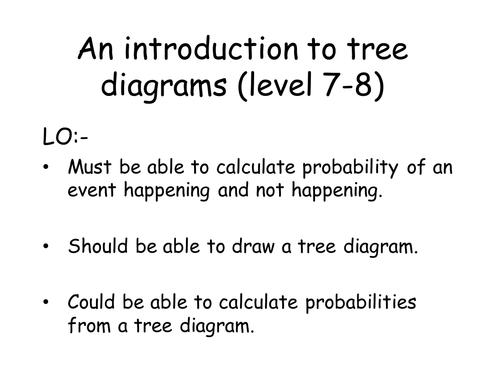 basic introduction to probability tree diagrams by Labrown20 – Tree Diagrams Worksheet