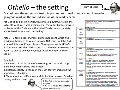 Othello Printable Worksheet Setting and Context by mushroomofjoy – Character and Setting Worksheets