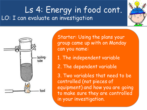 Energy in Food Investigation